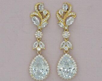 Gold bridal earrings, Art Deco Wedding earrings, Crystal earrings, Chandelier earrings, Gold vintage Jewelry, Leaf Earrings