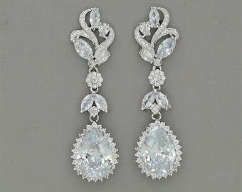 Silver Bridal Earrings Leaf Wedding Earrings Crystal Chandelier Earrings Leaf Bridal Jewelry Cubic Zirconia Earrings