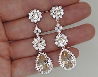 Champagne Crystal Wedding Earrings, Long Teardrop Chandelier Earrings in Gold and Silver Tone, Swarovski Rhinestone Jewelry for Brides