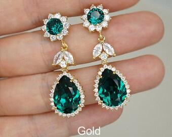 Emerald Earrings, Emerald Green Wedding Earrings, Swarovski Crystal Bridal Jewelry, Rose Gold Earrings, Silver Bridal Earrings