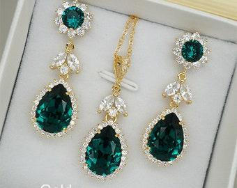 Emerald Jewelry Set, Emerald Earrings, Emerald Necklace, Emerald Crystal Wedding Necklace, Gold Bridal Earrings, Silver Wedding Jewelry set