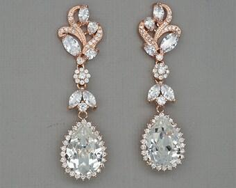 Rose gold earrings, Leaf Wedding earrings, Crystal earrings, Rhinestone Chandelier Earrings, CZ Jewelry for brides,Teardrop Dangle earrings