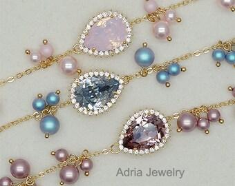 Bridesmaids Bracelet, Blush Bridesmaid Bracelet, Blue Bridesmaids Gifts, Baby Pink Bracelet, Swarovski Crystals Wedding Bracelet , Silver