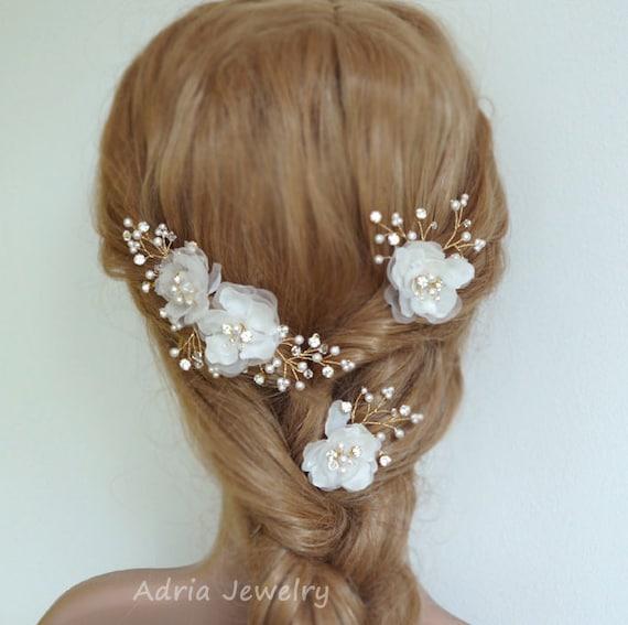 Wedding Headpieces Gold Bridal Hair Pieces Silk Hair Flowers Etsy