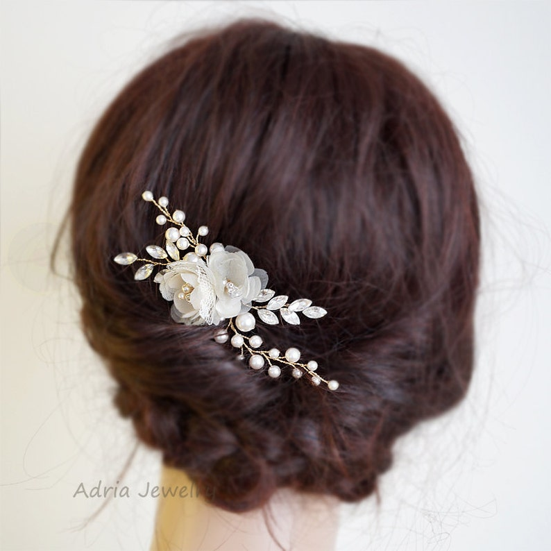Gold Bridal Headpieces Silk Flowers Hair Clips Rhinestone image 0