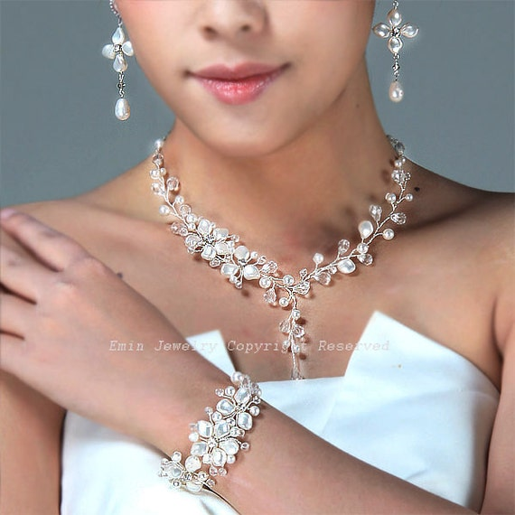 Bracelet /& Earring Crystal Jewelry Bridesmaid Necklace Pearl Jewellery Set