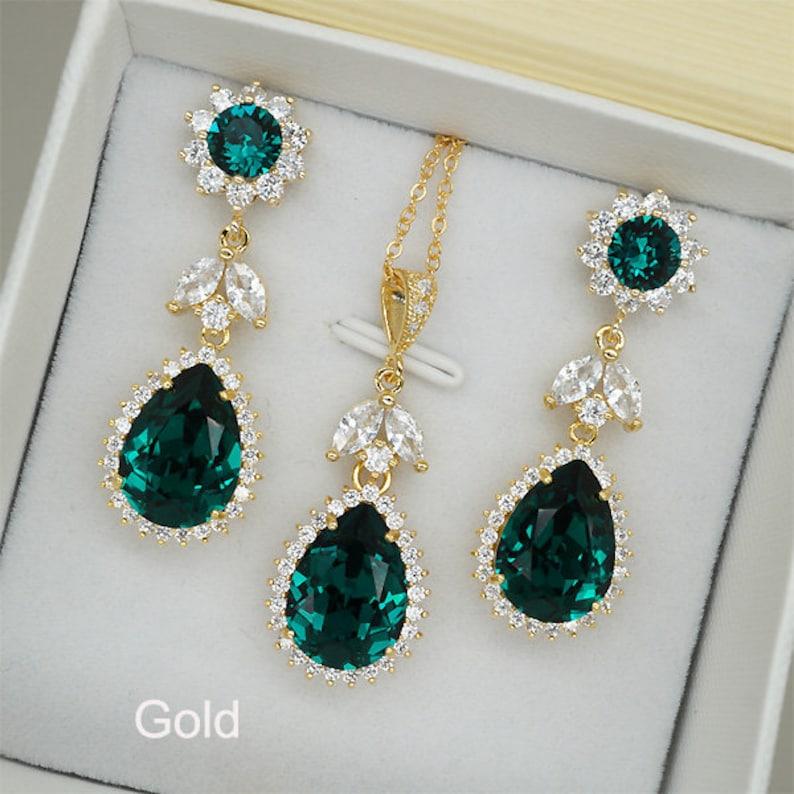 loop schoenen goedkoopste schattig Emerald sieraden Set, Emerald oorbellen, Emerald Necklace, Emerald kristal  bruiloft ketting, Gouden Bruids oorbellen, zilveren bruiloft sieraden