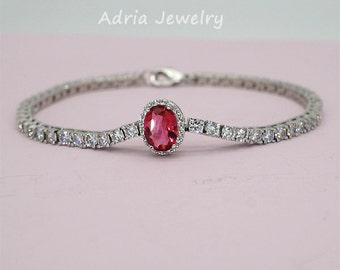 Red Crystal Bracelet Rhinestone Wedding Bracelet Ruby Red Bracelet Mother of Brides Jewelry Everyday Bracelet