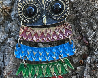 Multi-coloured Layered Boho Owl pendant