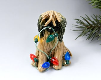Lhasa Apso Gold Sable Porcelain Christmas Ornament Figurine Lights