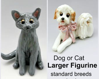 Larger Dog Pet Cat Figurines in Porcelain Clay Standard Breed and colors