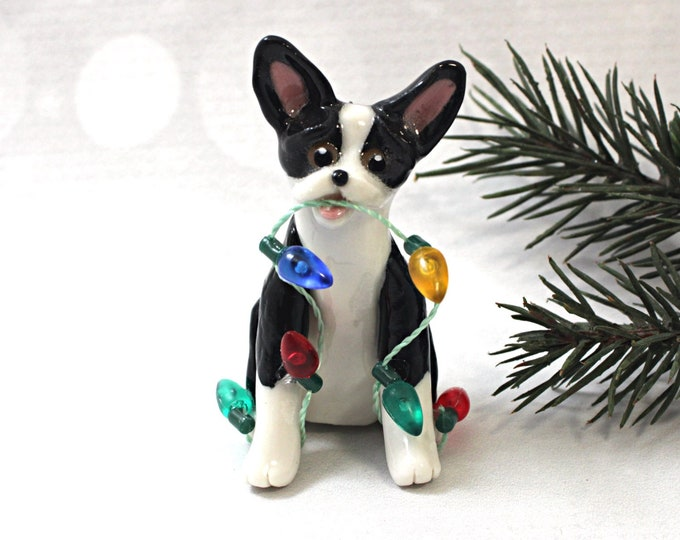 Featured listing image: Boston Terrier Christmas Ornament Figurine Lights Porcelain