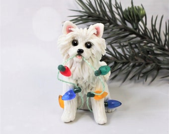 American Eskimo Dog PORCELAIN Christmas Ornament Figurine OOAK