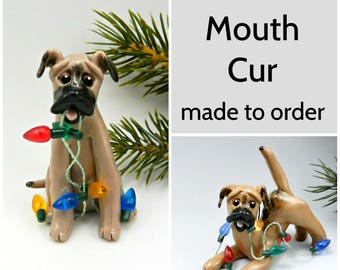 Black Mouth Cur Dog Made to Order Christmas Ornament Figurine in Porcelain