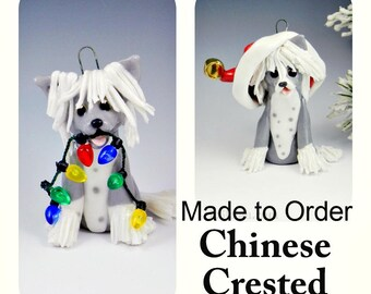 Chinese Crested PORCELAIN Christmas Ornament Figurine Made to Order