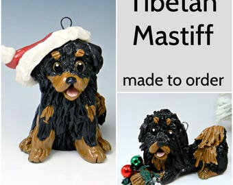 Tibetan Mastiff PORCELAIN Christmas Ornament Figurine Made to Order
