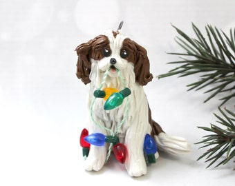 Cavalier King Charles Spaniel Blenheim Porcelain Christmas Ornament Figurine with Lights