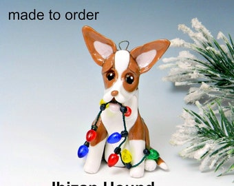 Ibizan Hound Dog Made to Order Christmas Ornament Figurine in Porcelain