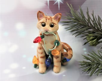 Orange Tabby Cat Christmas Ornament Figurine Lights Porcelain Clay