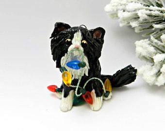 Cat Persian Black White Christmas Ornament Figurine Porcelain Lights