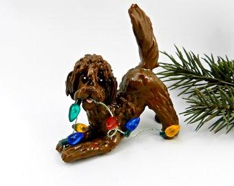 Labradoodle GoldenDoodle Brown Porcelain Christmas Ornament Figurine Clay Lights