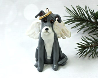 Italian Greyhound Gray and White PORCELAIN Christmas Ornament Figurine Angel