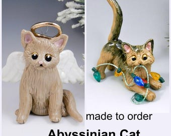 Abyssinian Somali Cat PORCELAIN Christmas Ornament Figurine Made to Order