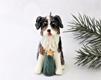 Australian Shepherd Tricolor Porcelain Christmas Ornament Figurine Christmas Tree
