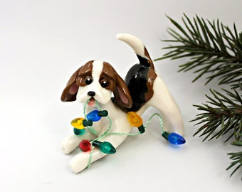 Beagle Tricolor PORCELAIN Christmas Ornament Figurine Lights