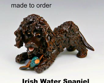 Irish Water Spaniel Made to Order Christmas Ornament Figurine in Porcelain