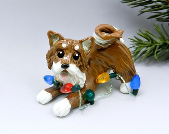 Shiba Inu Christmas Ornament Figurine Lights Porcelain
