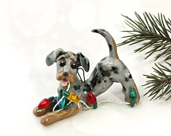 Dachshund Blue Merle Porcelain Christmas Ornament Figurine Lights