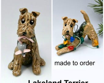 Lakeland Terrier PORCELAIN Christmas Ornament Figurine Made to Order