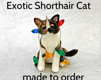 Exotic Shorthair Cat PORCELAIN Christmas Ornament Figurine Made to Order