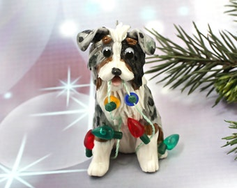 Australian Shepherd Blue Merle PORCELAIN Christmas Ornament Figurine Lights OOAK