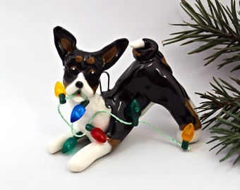 Basenji Tricolor PORCELAIN Christmas Ornament Figurine with Lights