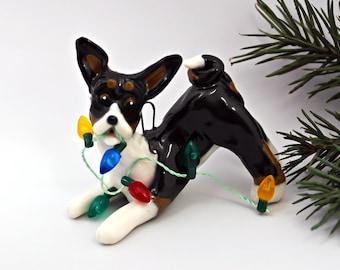 Basenji Tricolor PORCELAIN Christmas Ornament Figurine with Lights