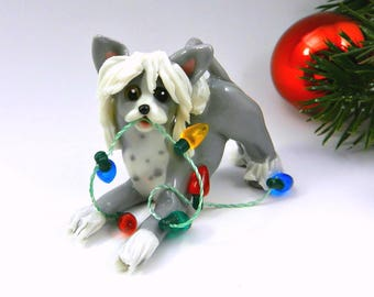 Chinese Crested Porcelain Christmas Ornament Figurine with Lights Clay