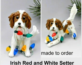 Irish Red and White Setter PORCELAIN Christmas Ornament Figurine Made to Order