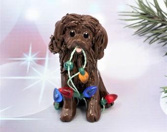 Boykin Spaniel Porcelain Christmas Ornament Figurine with Lights