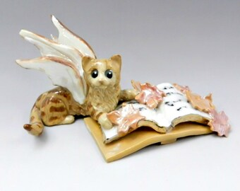 Cat Fairy Figurine Orange Tabby Fall Leaves Magical Book Porcelain OOAK