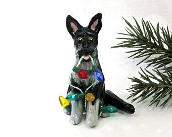 German Shepherd Black Silver PORCELAIN Christmas Ornament Figurine Lights OOAK