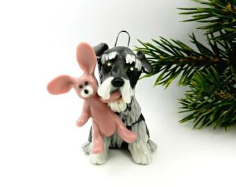 Schnauzer Christmas Ornament Figurine Pink Bunny Porcelain Clearance