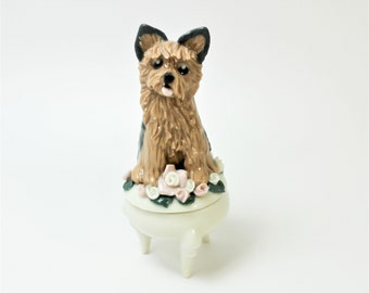 Yorkie Yorkshire Terrier Tiny Trinket Box Porcelain Miniature Clearance
