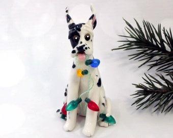 Harlequin Great Dane PORCELAIN Christmas Ornament Figurine Lights