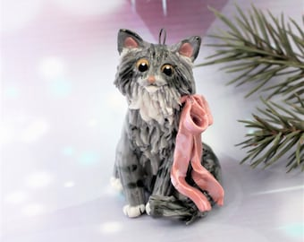 Maine Coon Cat Silver Tabby Porcelain Christmas Ornament Figurine with Pink Bow