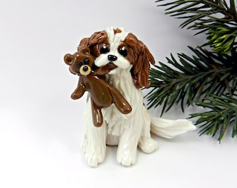 Cavalier King Charles Spaniel Blenheim Porcelain Christmas Ornament Teddy Bear