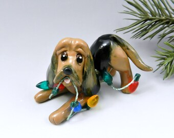 Bloodhound Christmas Ornament Figurine Lights Porcelain