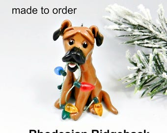 Rhodesian Ridgeback Porcelain Christmas Ornament Figurine Made to Order