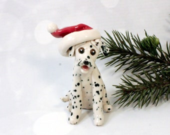 Dalmatian Porcelain Christmas Ornament Figurine with Santa Hat